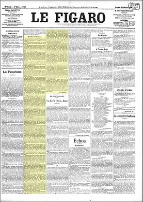 Front page of The Figaro - Futurism Manifesto